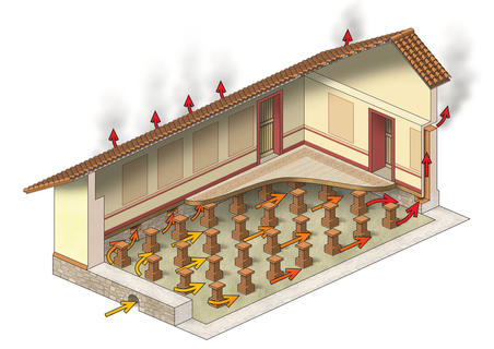 ROMAN HYPOCAUST DIAGRAM  For an interpretation panel in the Avalon Marshes, Somerset.