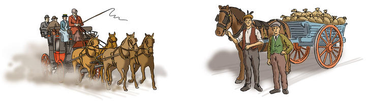 STAGECOACH & 'CARDI CART'  Illustrations of historic traffic on the A470 for the Wales Way.
