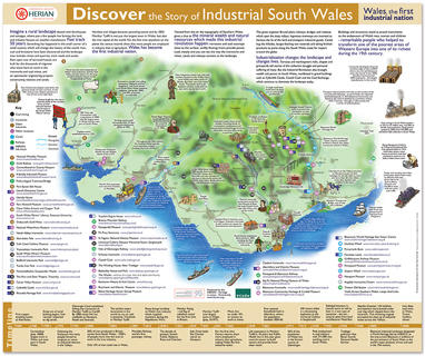 HERIAN - INDUSTRIAL SOUTH WALES  This illustrated map was part of an A2 poster and leaflet we produced to promote industrial heritage sites in South Wales.