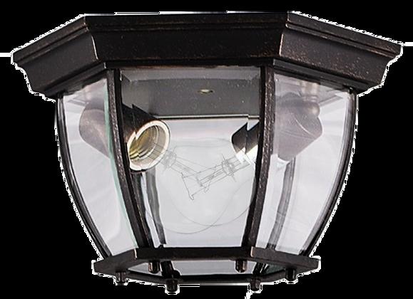 "2-Light Open Bottom Exterior Ceiling Mount- Matte Black Finish- Clear Glass- 7""H"