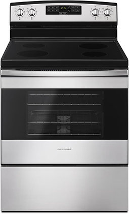 "Amana 30"" Stainless Steel Electric Range Oven with 4 Smooth Top Burners"