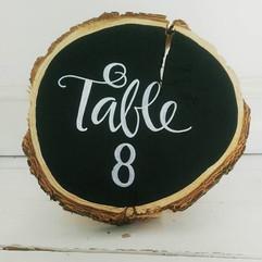 Table number wood slice