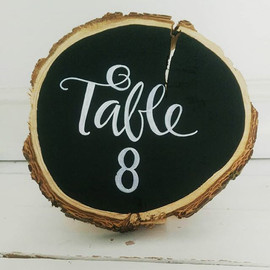 Table number wood slice