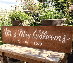 personalised wedding sign for top table