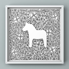 dala horse with floral and laurel