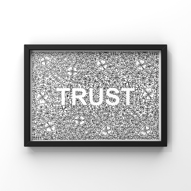trust with floral and laurel