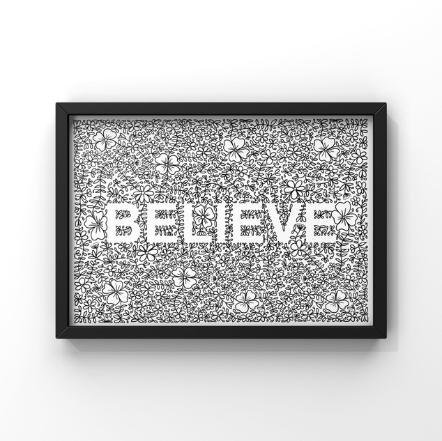 believe with floral and laurel