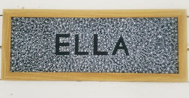 Personalised chaklboard in a frame with my Floral and Laurel design.
