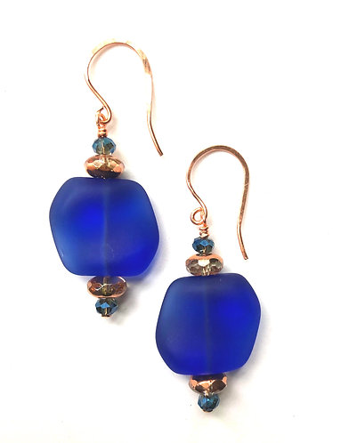 Royal Blue Glass Earrings on Copper