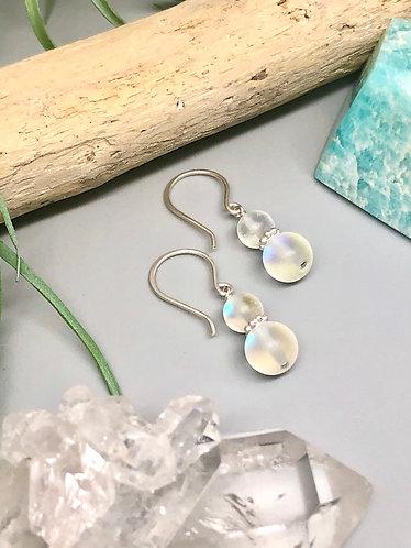 "White ""Mermaid"" Aura Quartz Earrings"