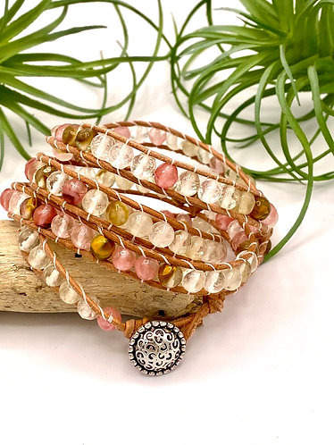 """Strawberry Quartz"" Glass Wrap Bracelet"