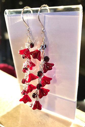 Ruby Red Flower and Garnet Earrings
