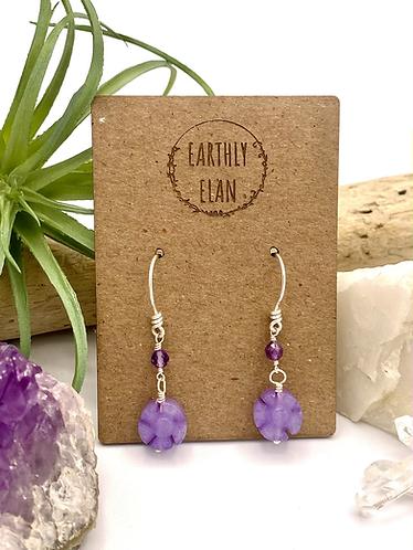 Purple Jade Daisy Earrings