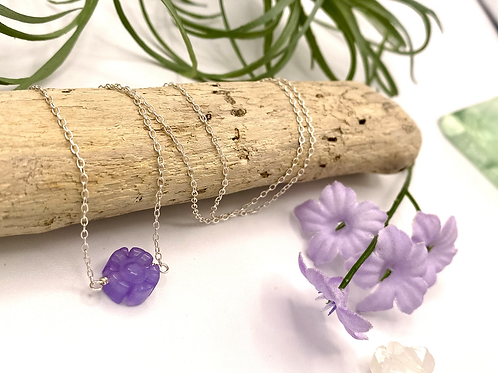 Purple Jade Daisy Necklace