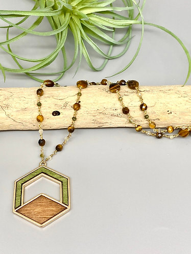 Tiger's Eye Wood Mosaic Pendant Necklace