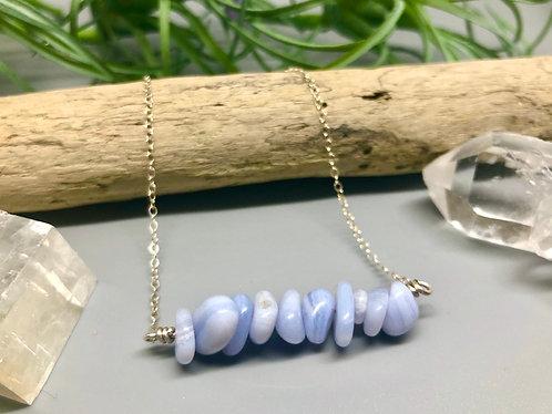 Blue Lace Agate Bar Necklace