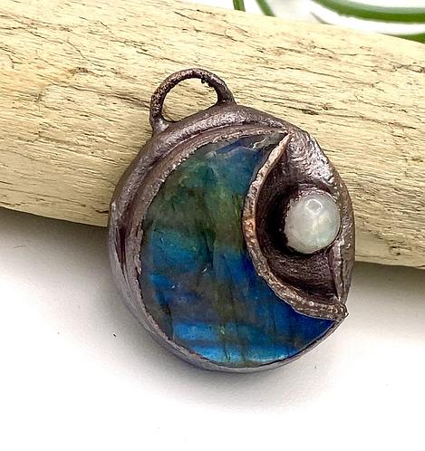 Labradorite and Moonstone Moon Pendant