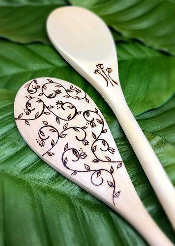 Earthly Vines Wood Burned Spoon