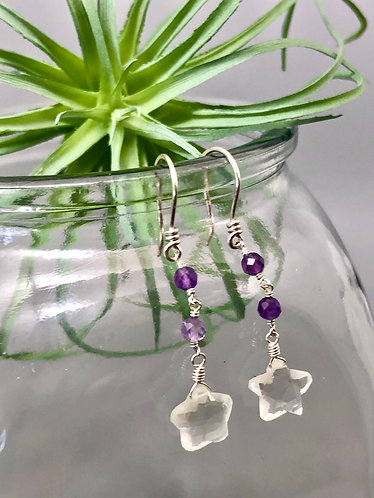 Quartz Amethyst Star Earrings