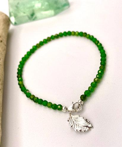 Chrome Diopside Leaf Charm Bracelet