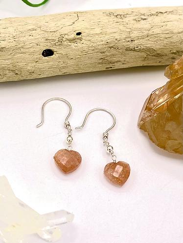 Sunstone Heart Earrings