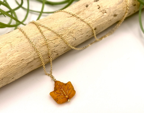 Orange Leaf Peeper Necklace