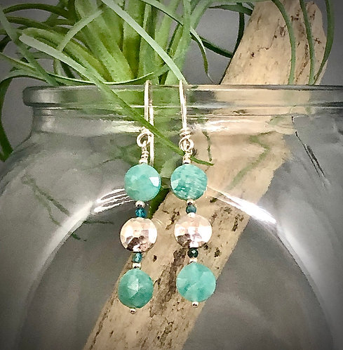 Amazonite and Sterling Coin Earrings