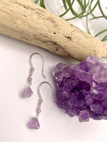 Purple Fluorite Flower Earrings