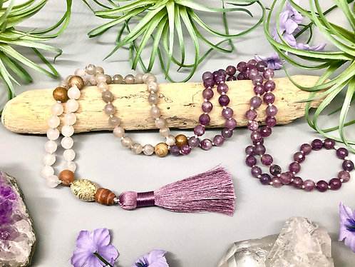 Lepidolite, Moonstone, and White Jade Mala