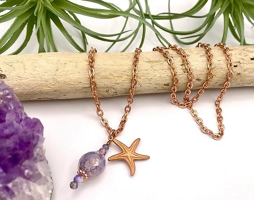 Copper & Czech Glass Sea Star Necklace