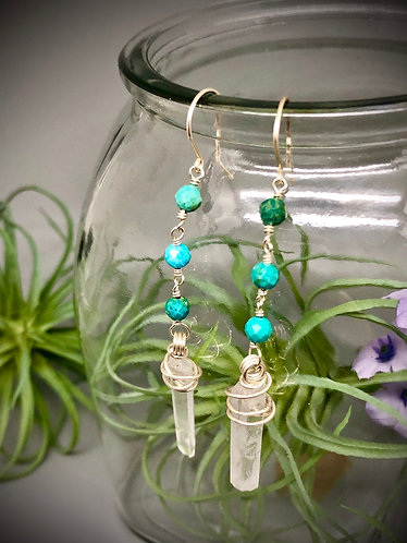 Turquoise and Quartz Drop Earrings