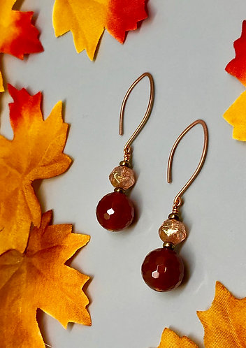 Carnelian and Czech Glass on Copper