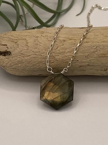 Labradorite Hexagon Necklace