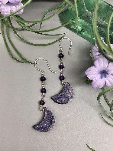 Amethyst Druzy Moon Earrings