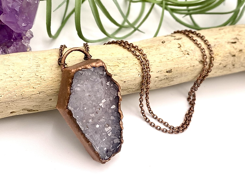 Druzy Agate Copper Coffin Pendant
