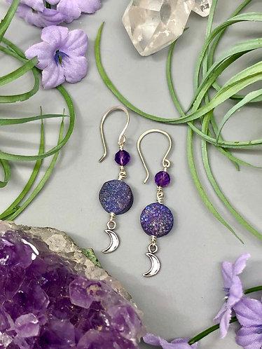 Druzy, Amethyst & Moon Charm Earrings