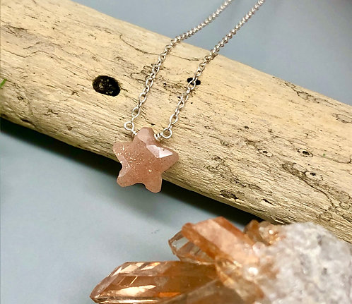 Peach Moonstone Star Necklace