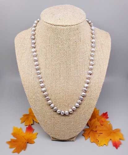 Hand-Knotted Silver Freshwater Pearl Necklace