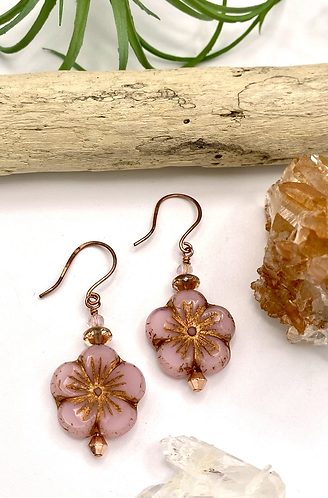 Czech Glass Flower Earrings