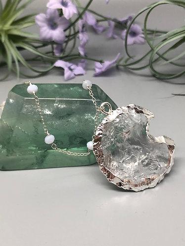 Quartz Moon Pendant with Crazy Lace Agate