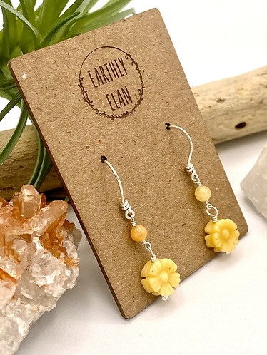 Yellow Jade Daisy Earrings