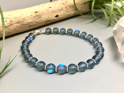 "Gray ""Mermaid"" Aura Quartz Bracelet"