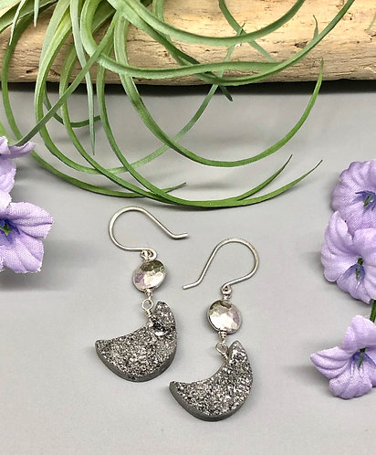 Silver Druzy Moon Earrings