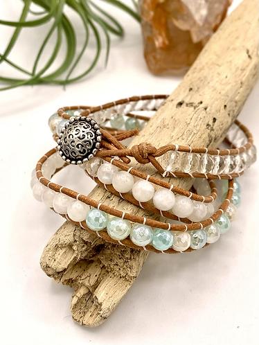 Agate, Moonstone, & Quartz Wrap Bracelet