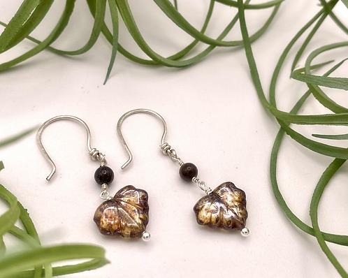 Amber Leaf Peeper Earrings