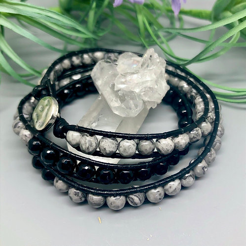 Map Jasper and Onyx Wrap Bracelet
