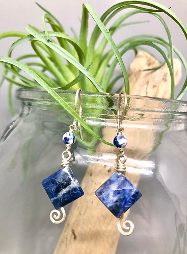 Sodalite Diamond Earrings
