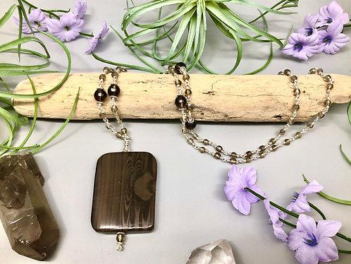 Jasper and Smoky Quartz Pendant Necklace