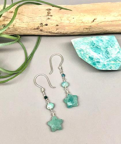 Amazonite Star Earrings