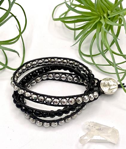 Hematite & Onyx Wrap Bracelet